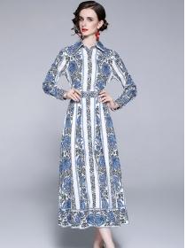 Wholesale Europe Shirt Collar Flowers Women Long Dress