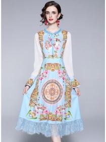 Grace Women Flare Sleeve Lace Splicing Flowers Dress