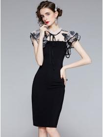Elegant Lady Butterfly Embroidery Gauze Splicing Slim Dress