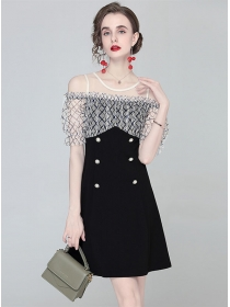 Wholesale Europe Gauze Off Shoulder Double-breasted Dress