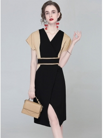 Europe Stylish Color Block V-neck Split Bodycon Dress