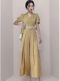 Vogue Lady Belt Waist V-neck Wide-leg Long Jumpsuit