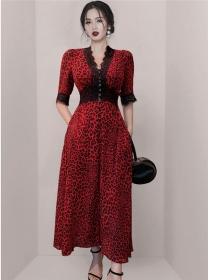 Modern OL Lace V-neck High Waist Leopard Long Dress