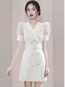 Grace Double-breasted Tailored Collar Puff Sleeve Dress