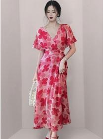 Pretty Women Tie Waist V-neck Flowers Long Dress