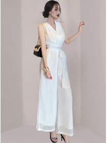 Summer New V-neck Elastic Waist Wide-leg Long Suits