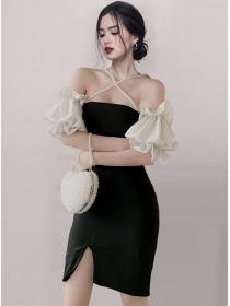 Sexy Korea Pearls Straps Boat Neck Puff Sleeve Slim Dress