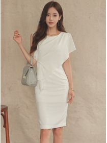 Elegant Lady Round Neck Flouncing Bodycon Dress