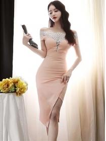 Modern Sexy Lace Boat Neck Split Skinny Dress