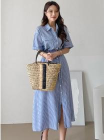 Wholesale Korea Tie Waist Single-breasted Stripes Shirt Dress
