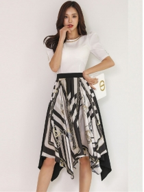 Fashion New Chain Collar Puff Sleeve Printings Dress Set