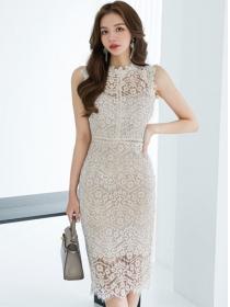 Elegant Women Round Neck Hollow Out Lace Tank Dress