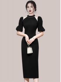 Wholesale Korea Rhinestones Puff Sleeve Bodycon Dress
