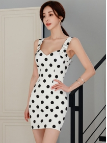 Sexy Wholesale Buckles Straps Dots Bodycon Dress