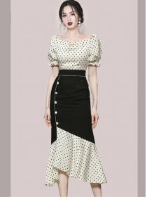 Retro Korea High Waist Dots Fishtail Puff Sleeve Dress Set