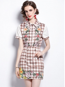 Fashion Shirt Collar Double-breasted Flowers Plaids Dress Set