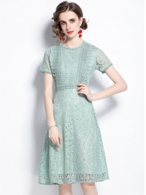 Summer Fashion Round Neck Flowers Lace A-line Dress