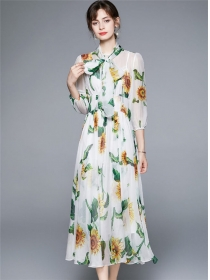 Pretty Fashion High Waist Sunflowers Chiffon Maxi Dress