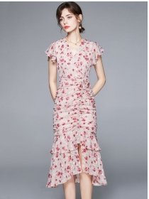 Charming Summer Draw-string Pleated Flowers Fishtail Dress
