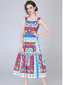 Europe Stylish High Waist Flowers Straps A-line Dress