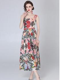 Summer Fashion Flowers High Waist Straps Long Dress