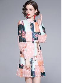 Europe Stylish Single-breasted Puff Sleeve Loosen Flowers Dress