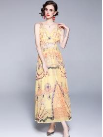 Europe Stylish V-neck High Waist Flowers Chiffon Long Dress