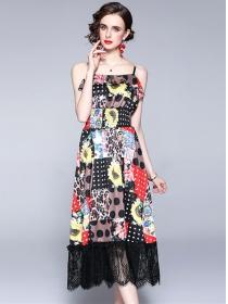 Retro Fashion Elastic Waist Flowers Lace Splicing Dress