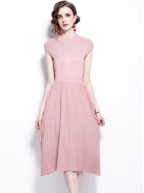 Wholesale Europe 4 Colors Pleated Knitting Dress Set