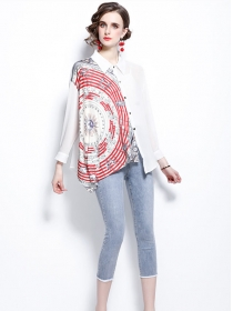 Fashion Summer Printings Loosen Blouse with Cropped Jeans