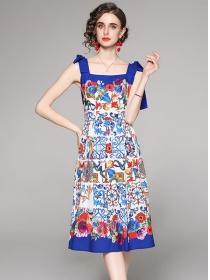 Europe Stylish Bowknot Straps Plaids Flowers Dress