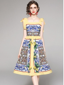 Retro Wholesale High Waist Flowers Straps Dress
