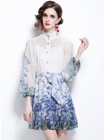 Modern Lady Tie Waist Flowers Puff Sleeve Fishtail Dress