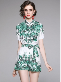 Summer Hot Tie Waist Flowers Two Pieces Short Suits
