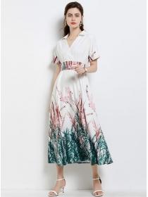 Fashion Europe Shirt Collar Tie Waist Flowers Long Dress