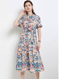 Quality New Tie Waist Flowers Puff Sleeve Long Dress