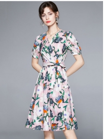 Europe Grace Tie Waist Puff Sleeve Flowers Dress