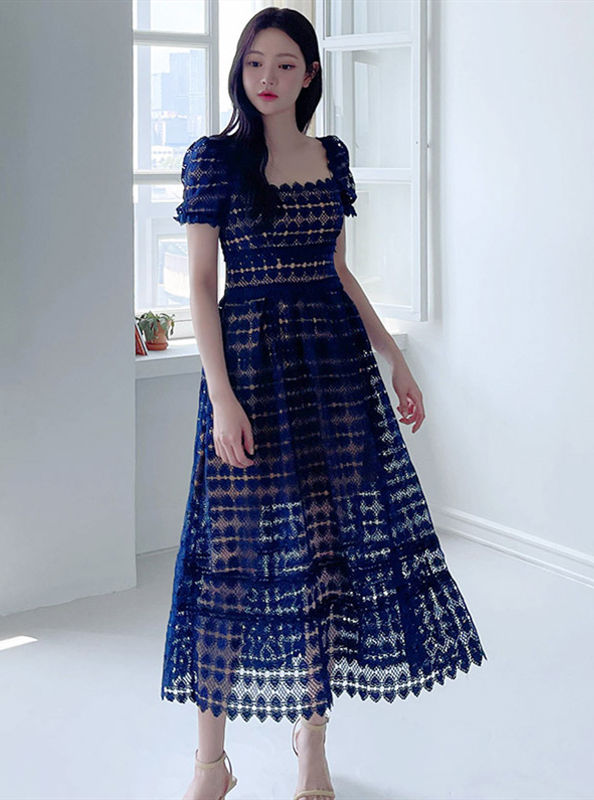 Fashion Lady Square Collar Hollow Out Lace Long Dress