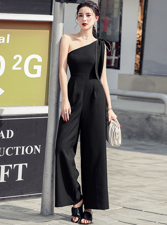 Modern Lady Rhinestone Bowknot Off Shoulder Long Jumpsuit