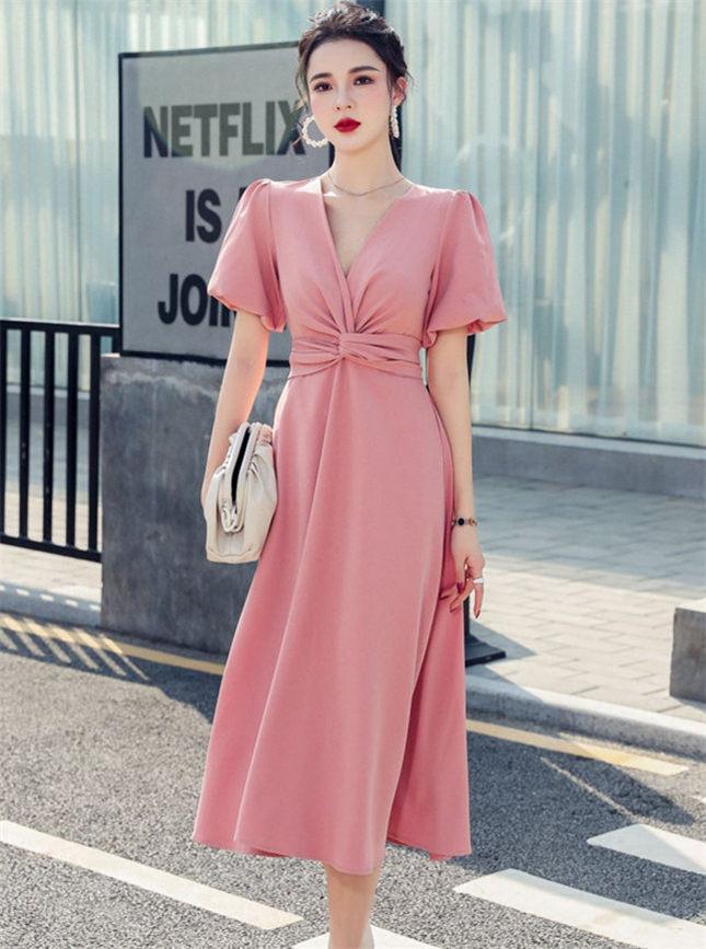 Modern Sexy 2 Colors Twisted Waist V-neck Long Dress