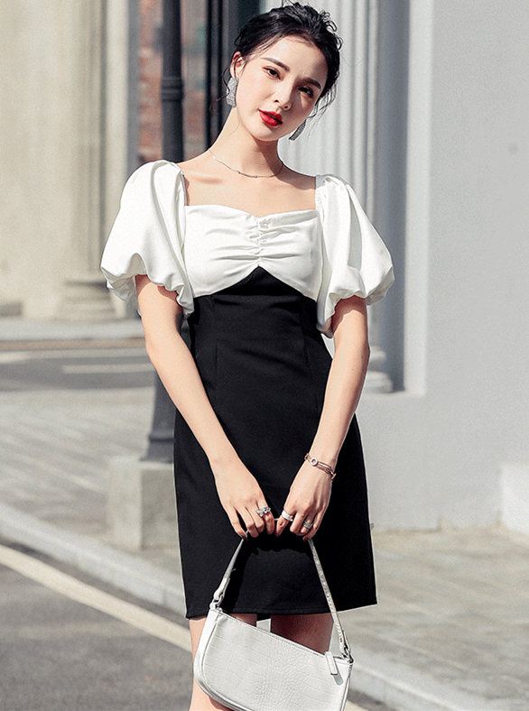 Fashion Color Block Pleated Square Collar Puff Sleeve Dress