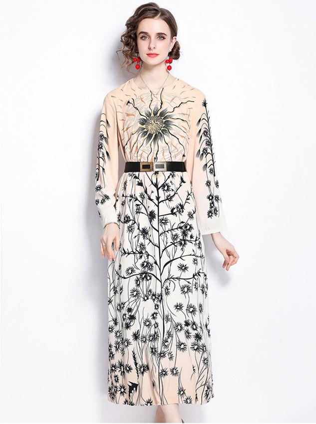Retro Fashion Belt Waist Flowers Loosen Maxi Dress