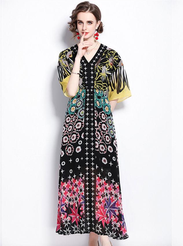 Europe Summer Elastic Waist V-neck Flowers Maxi Dress