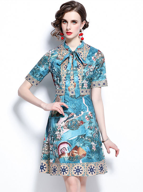 Retro Women Fashion Tie Collar Flowers Short Sleeve Dress