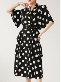 Retro Wholesale Double-breasted Tailored Collar Dots Dress