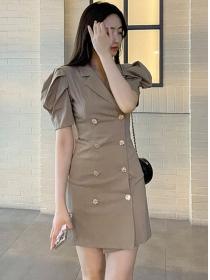 Korea Retro Double-breasted Tailored Collar Puff Sleeve Dress