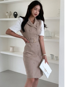 Fashion OL Double-breasted Tailored Collar Slim Dress