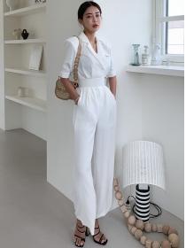 Brand Fashion High Waist Tailored Collar Long Jumpsuit