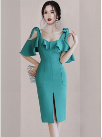 Grace Fashion Flouncing Boat Neck Straps Slim Dress