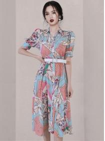 Charming Korea Shirt Collar Flowers Puff Sleeve Dress